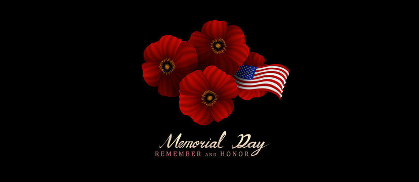 memorial day remember and honor background,united states flag, with respect honor and gratitude posters, modern design with red poppies vector illustration
