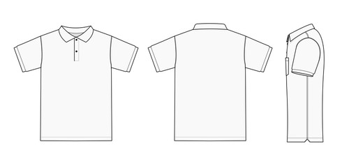 Polo shirt (golf shirt) template illustration ( front/ back/ side ) / white. No pockets. Wall mural