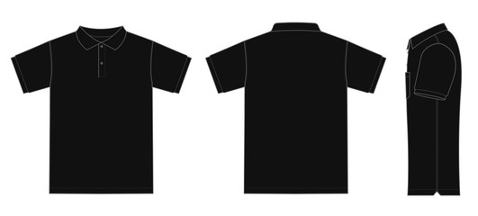 Polo shirt (golf shirt) template illustration ( front/ back/ side ) / black. No pockets.