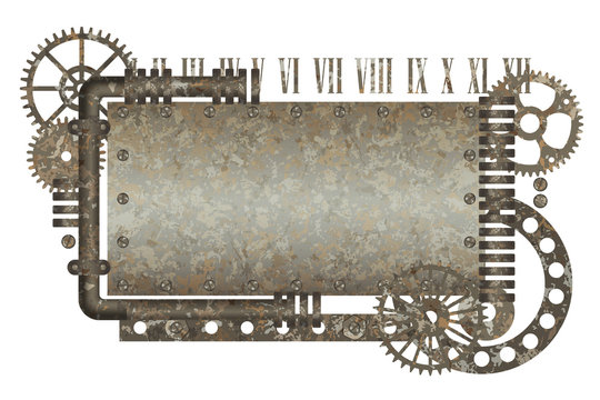 Metallic rusty frame with vintage machine gears and arabic numbers