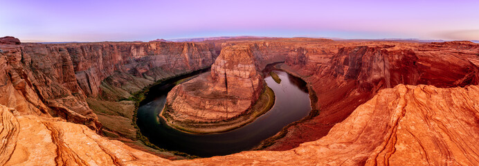 Horseshoe Bend Canyon and Colorado river in Page, Arizona, USA