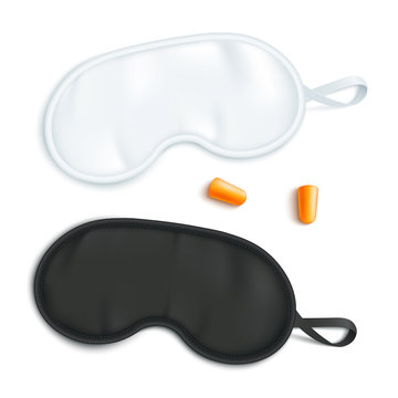 White and black sleeping mask mockup with pair of earplugs in realistic style.