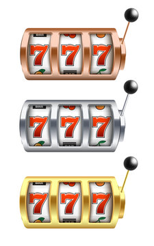 Vector illustration set of slot machine with lucky combination of three sevens in realistic style.