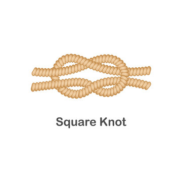 Type of nautical or marine node square knot for rope with a loop.