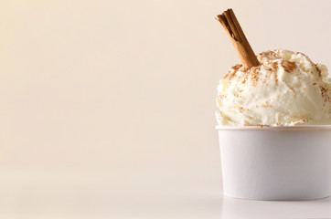Cinnamon ice cream cup on table isolated close up