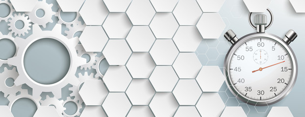 White Hexagon Structure Gears Stopwatch Header
