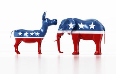 Republican and Democrat party political symbols elephant and donkey. 3D illustration