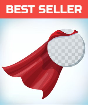 Red cape. Super hero cloak. Superhero cover. Cartoon carnival clothes. Female superhero. Woman heroine. Female power. Power sign. Leadership concept. Superhero icon. Business equality