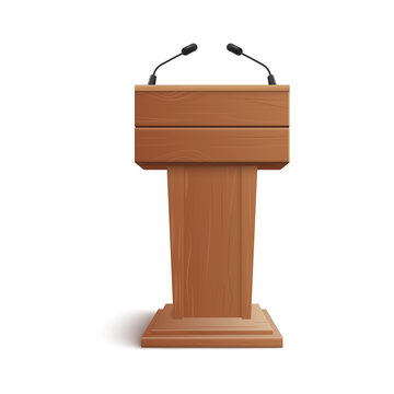 Realistic icon of blank brown wooden stand, podium or rostrum with microphones.