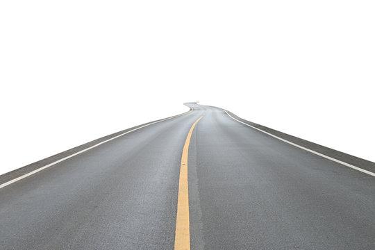 asphalt road on white background