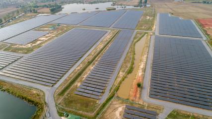 Aerial view solar farm new clean energy concept