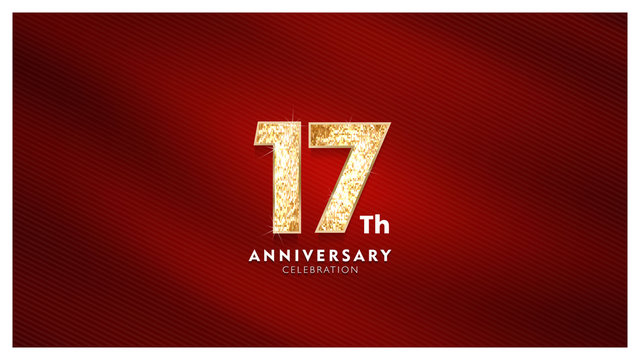 17th Anniversary celebration - Golden numbers with red fabric background
