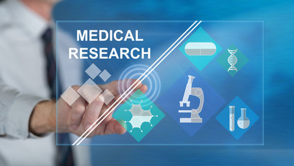 Man touching a medical research concept