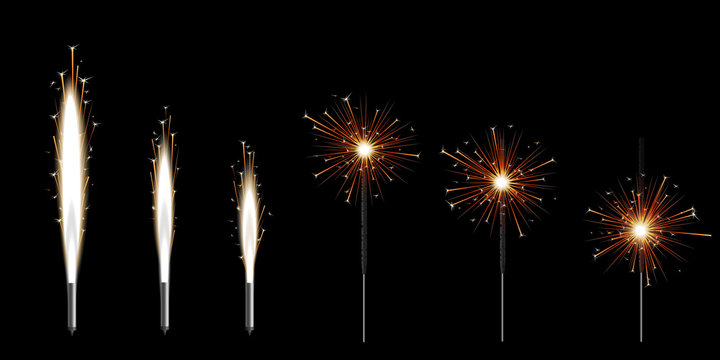 Set of six Bengal sparklers burning with golden shiny star sparkles