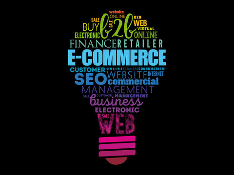 E-COMMERCE light bulb word cloud, business concept background