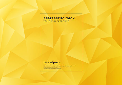 Abstract low polygon or triangles pattern on yellow mustard background and texture.