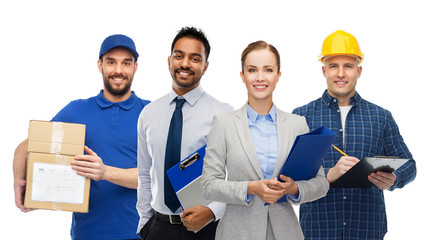 logistic business, delivery service and people concept - happy international office and manual workers over white background