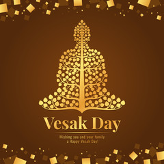 Vesak day banner gold Buddha with bodhi tree Sign on abstract brown gold background vector design