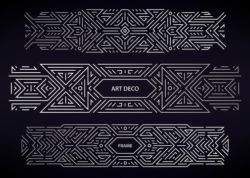 Set of vector Art deco silver borders, frames, decorative elements. Creative templates in style of 1920s. Trendy banner design, packaging and branding. Geometric shapes, ornaments