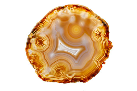 Macro stone Agate mineral on white background
