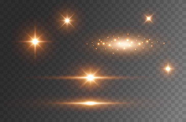 Star burst with sparkles isolated on transparent background. Sun flash with rays or gold spotlight set. Glow  flare light effect. Wall mural