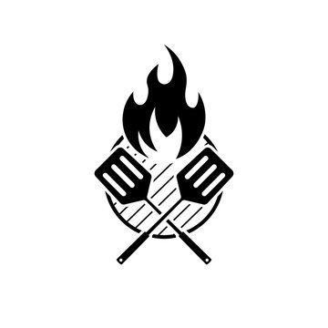 Barbeque sign with grill fire and crossed spatulas.