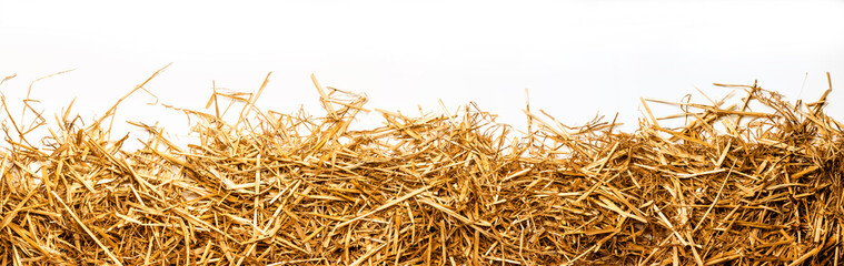 Fototapeta a bunch of straw as border, isolated with white background obraz