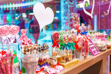colorful caramel candies in the store. Confectionery candy shop lollipops or caramel