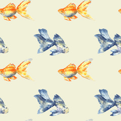 Seamless pattern with blue fish with big fin and goldfish on beige. Hand drawn watercolor illustration. Texture for print, fabric, textile, wallpaper.