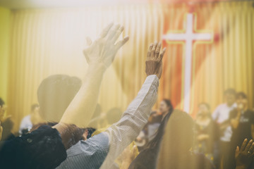 People Worship God in the Prayer Meeting. Vintage and Retro Style Picture Added