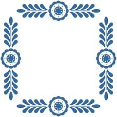 Polish folk frame isolated on white background with traditional blue floral ornament
