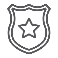 Police badge line icon, officer and law, shield with star sign, vector graphics, a linear pattern on a white background.