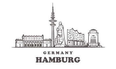 Fotomurales - Hamburg sketch skyline. Germany, Hamburg hand drawn vector illustration.