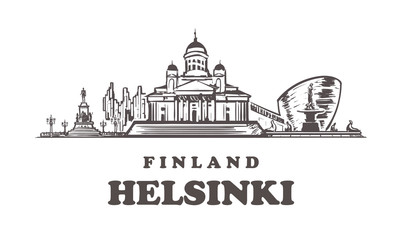 Fotomurales - Helsinki sketch skyline. Finland, Helsinki hand drawn vector illustration.