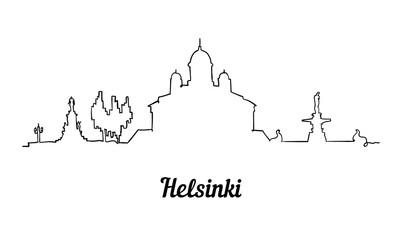 Fototapete - One line style Helsinki skyline. Simple modern minimaistic style vector.
