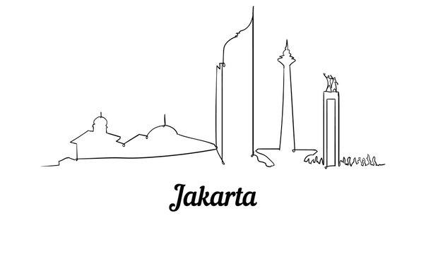 One line style Jakarta skyline. Simple modern minimaistic style vector.