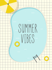 Fotorolgordijn Retro sign retro pool summer poster
