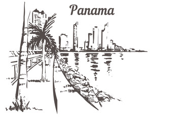 Fotomurales - Panama stone beach with palm trees. Panama city vector illustration