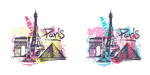 Fotomurales - Paris abstract color drawing. Paris sketch vector illustration