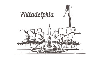 Fotomurales - Philadelphia street sketch. Philadelphia hand drawn vintage vector illustration.