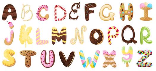 English sweet alphabet. Vector illustration on white background.