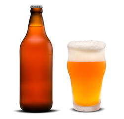 Glass of beer and Brown bottle isolated on a white background