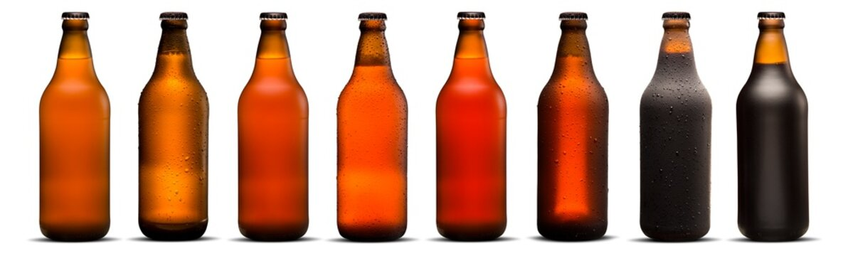 600ml beer bottles with drops and dries on white background. Pilsen, porter, ipa and weiss.
