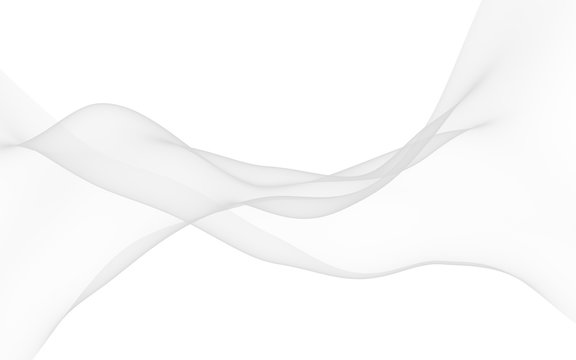 White abstract background. Fluttering white scarf. Waving on wind white fubric. 3D illustration