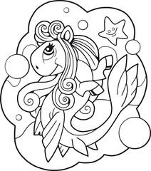 Cartoon cute pony mermaid, funny illustration design