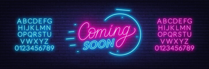 Coming soon neon sign on brick wall background. Template for design. Neon alphabet .Vector illustration.