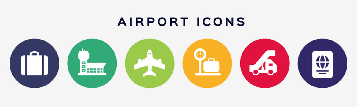Airport, aircraft. Set of six colored circle buttons with flat airport services, air terminal and airplanes icons.