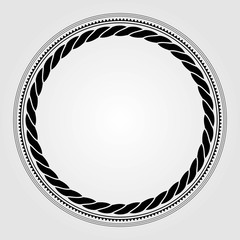 Round marine rope frame isolated on white background. Vector illustration