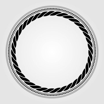 Round marine rope frame isolated on white background. Vector illustration