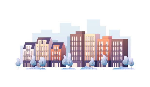 City street panoramic cityscape. Vector illustration.